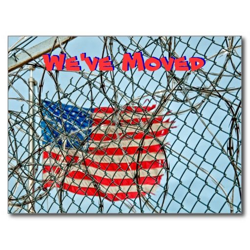we have Moved - New Address #moving... great gag card to tell your friends that you have moved....usa flag and prison theme....