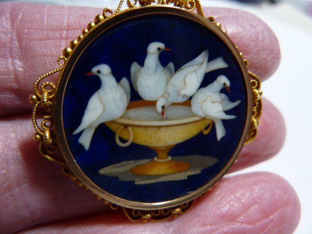Victorian Lapis Lazuli Pietra Dura Brooch Of Pliny S Doves