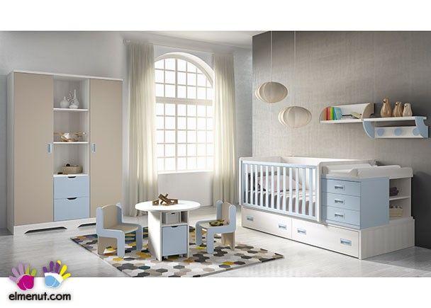 Habitación de bebé con cuna convertible y armario mixto. | Novedades ...