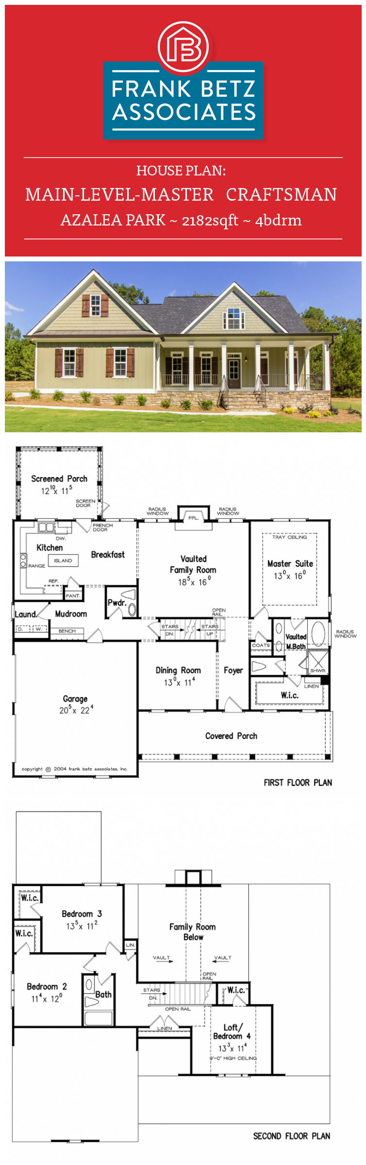 Azalea park 2182sqft 4brm main level master craftsman for Frank betz house plans