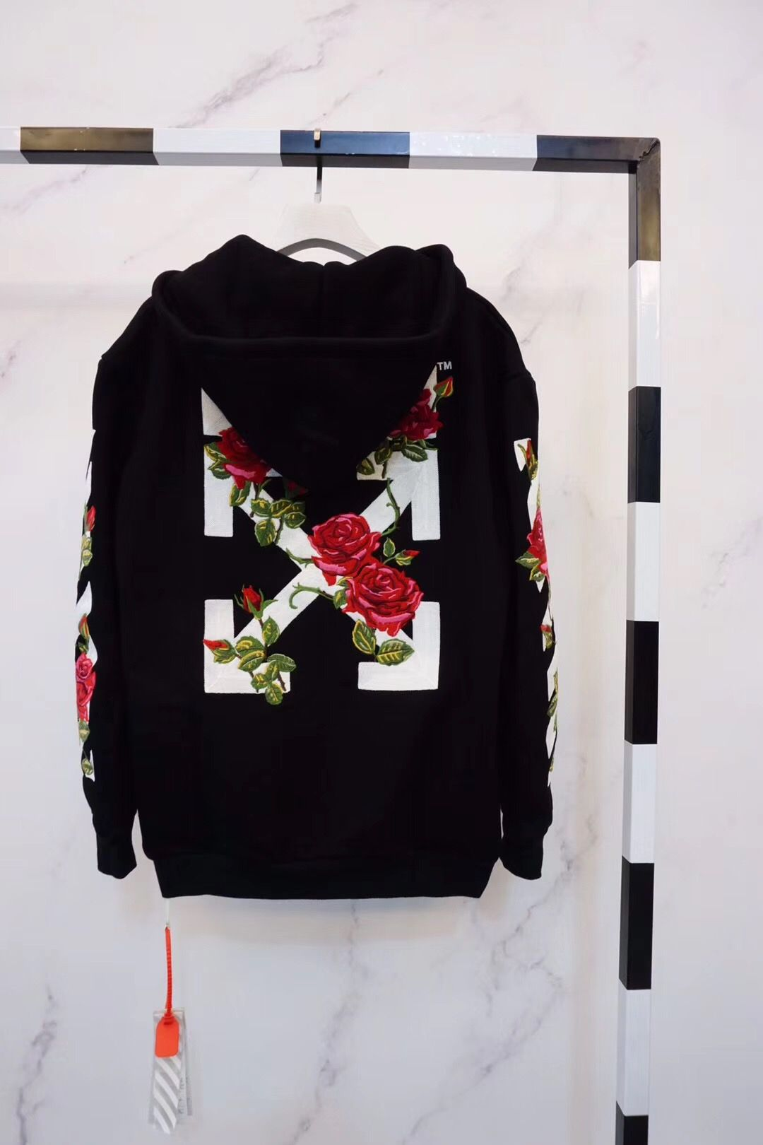 7ab6fe06683d Off-White Off White Embroidered Roses Hoodie