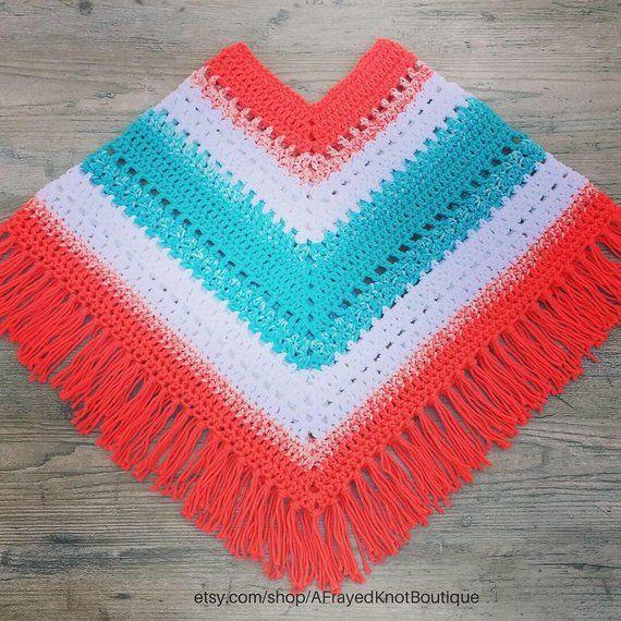 Colorful Boho Poncho for Kids Crochet Pattern/ Easy Hippie Poncho for Kids Pattern
