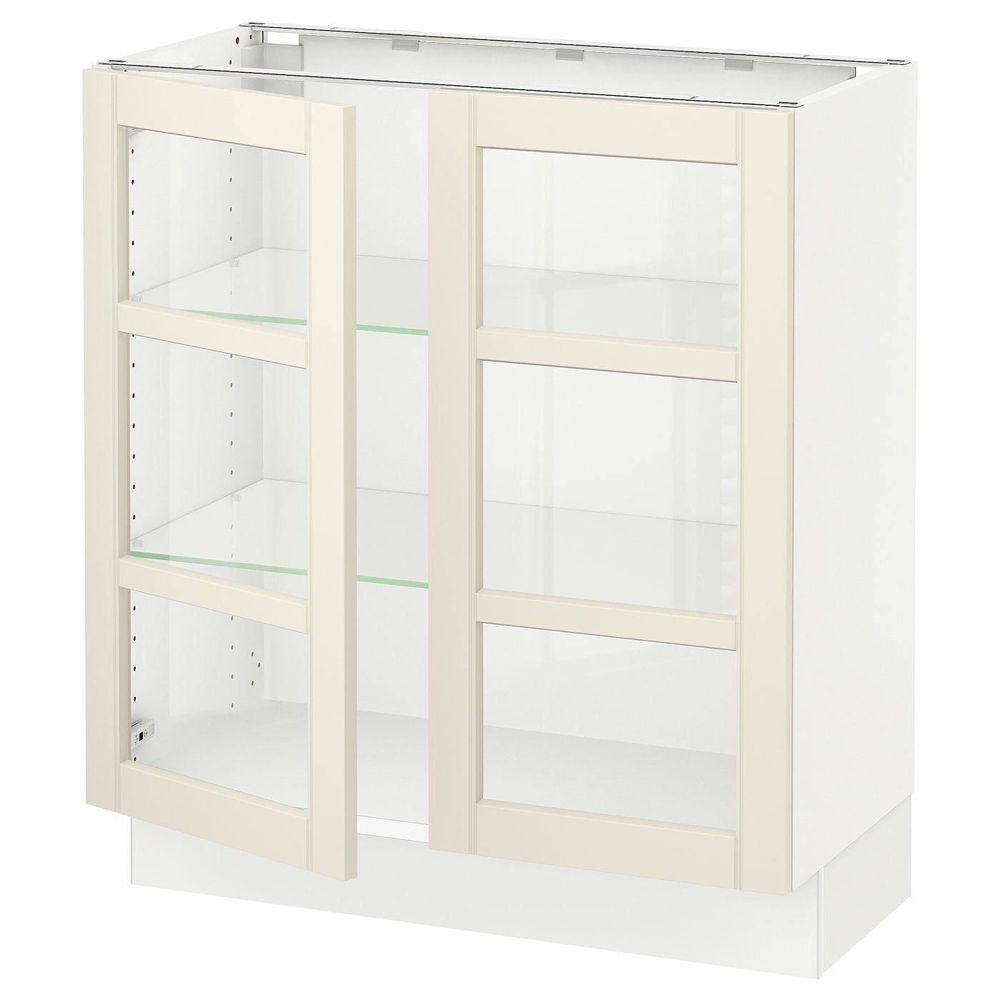 Sektion Base Cabinet With 2 Glass Doors White Hittarp Off White 30x15x30 In 2020 Base Cabinets Tempered Glass Door Glass Door
