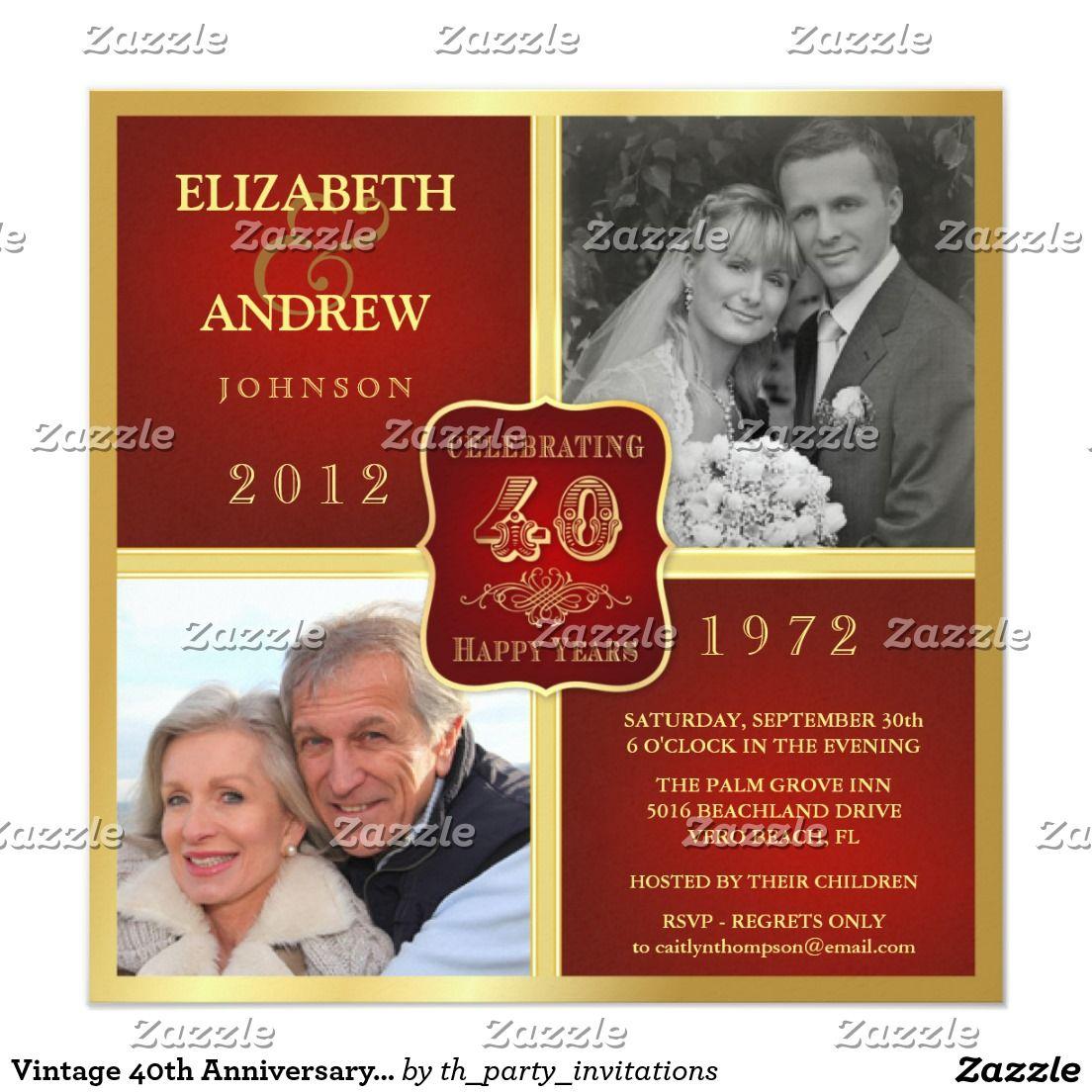 Vintage 40th Anniversary Fancy 2 Photo Invites   Ruby Wedding ...