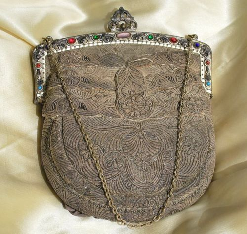 1920 Russian Bonnet Back Purse Intricate Dense Silver Embroid Jewelled Frame | eBay