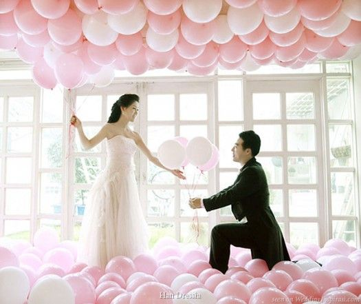 Pink balloons - floor to ceiling via Becoming the Mrs