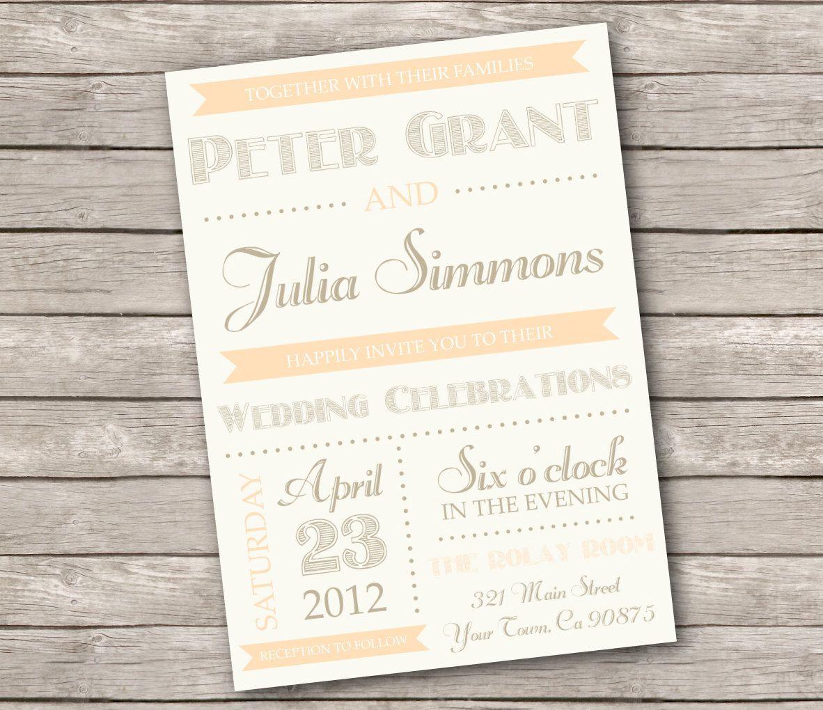 Vintage Wedding Invitations Etsy | Wedding Invite Vintage | Pinterest