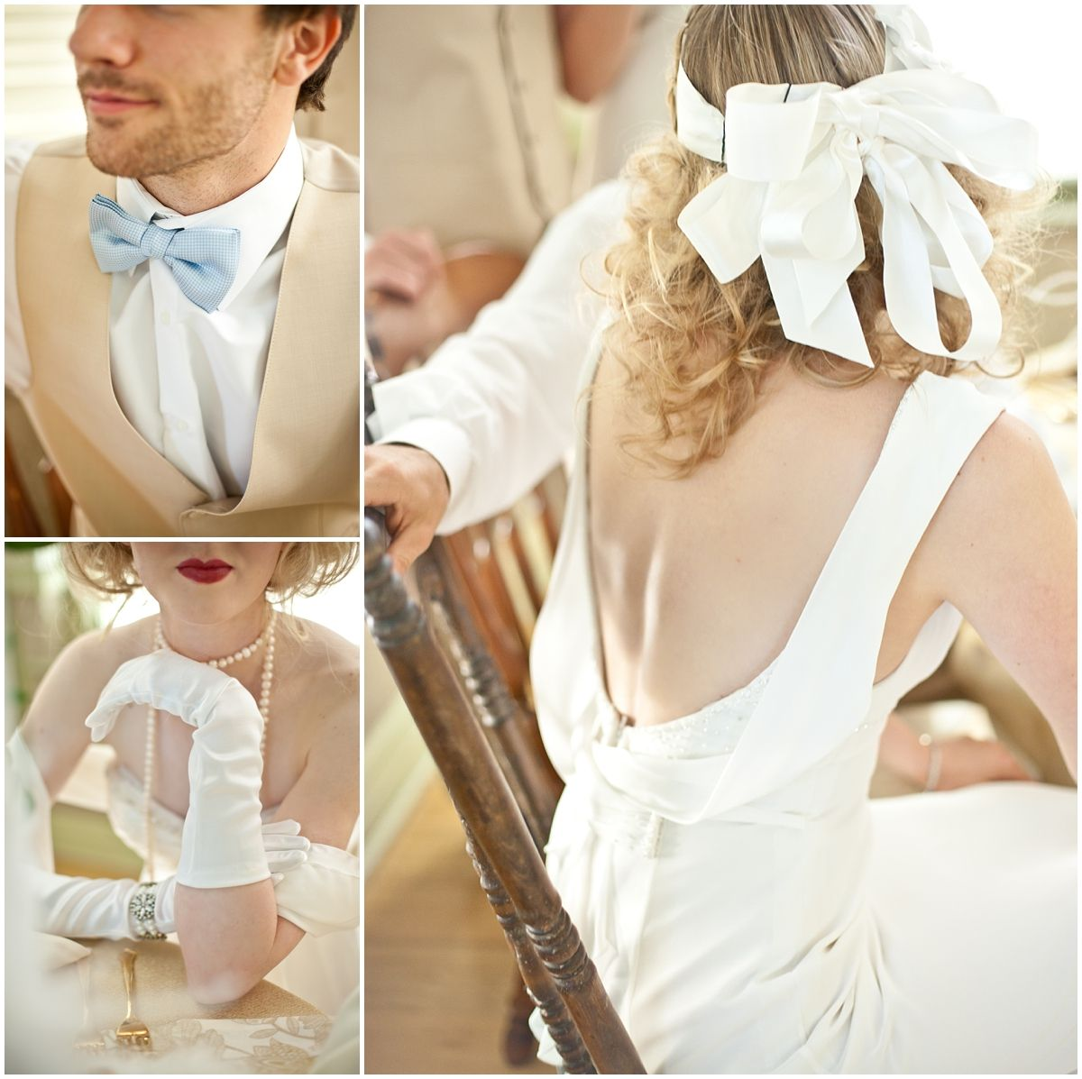 Gatsby party styled shoot low backed wedding gown blue bow tie