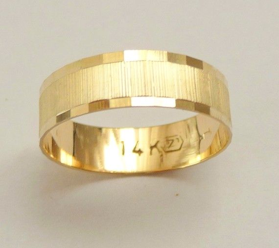 gold wedding band men wedding ring 6mm wide ring for women geometric design unique for him and for her - Gold Wedding Rings For Her