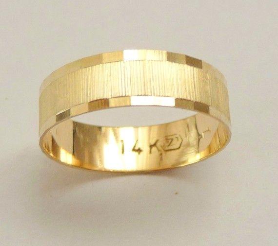 Gold wedding band men wedding ring 6mm wide ring for women