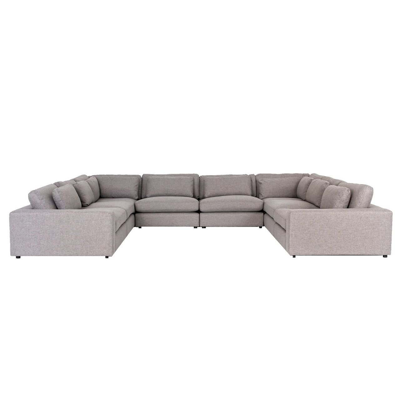 Bloor Contemporary Gray Fabric 8 Piece U Shaped Sectional Sofa U Shaped Sectional Sofa Grey Sectional Sofa Modern U Shaped Sectional