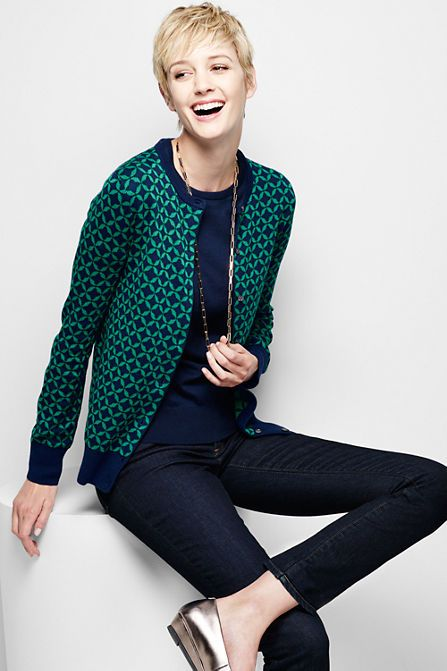 Women's Supima Jacquard Cardigan Sweater from Lands' End