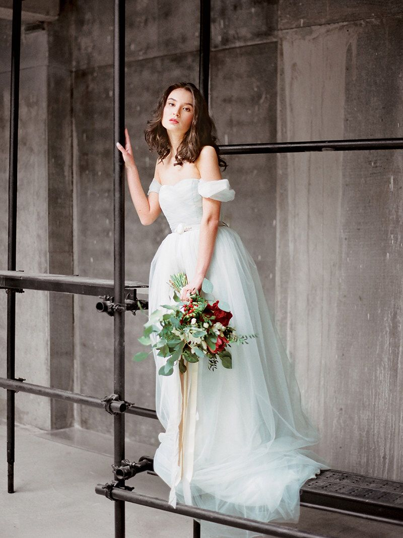 Tulle wedding dress with off shoulder sleeves