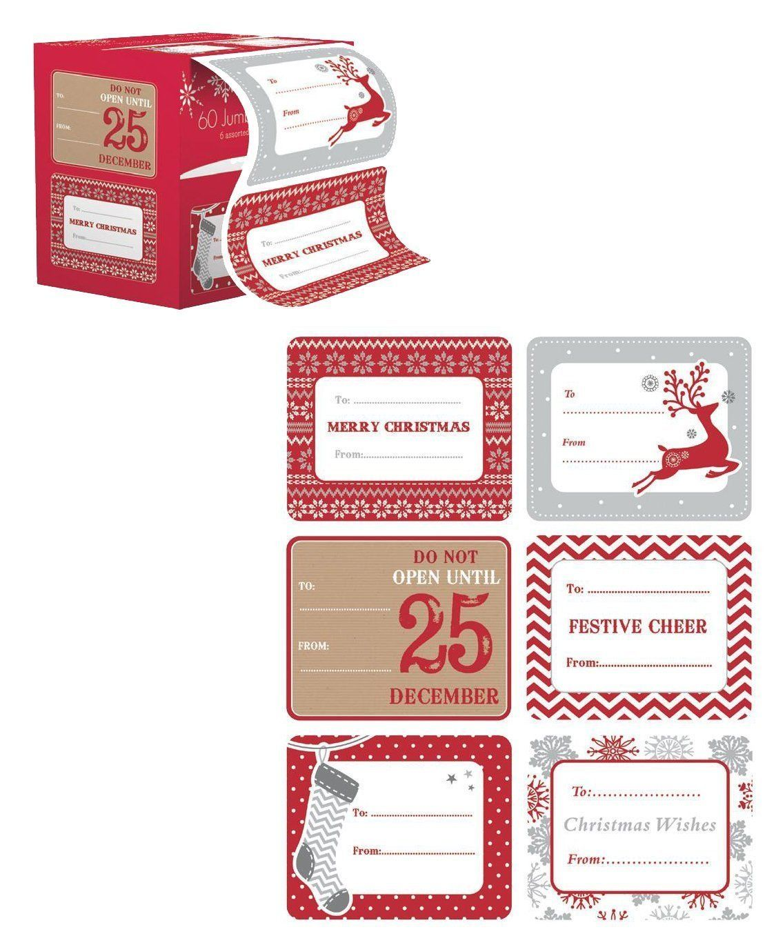Jumbo Christmas Gift Tag Stickers 60 Count Modern Red, White, Silver ...