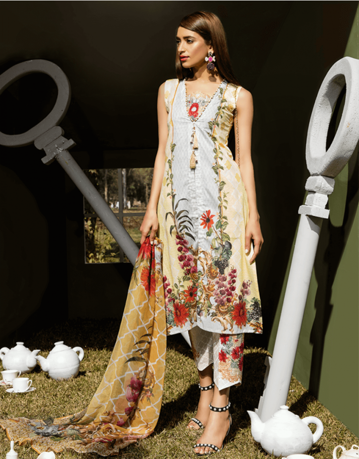 df9ba88c12 Graceful Printed Cream 3 piece unstitched pret by Rangrasiya Embroidered  Collection #springcollection #spring #readytowear #pretwear #unstitched  #online ...