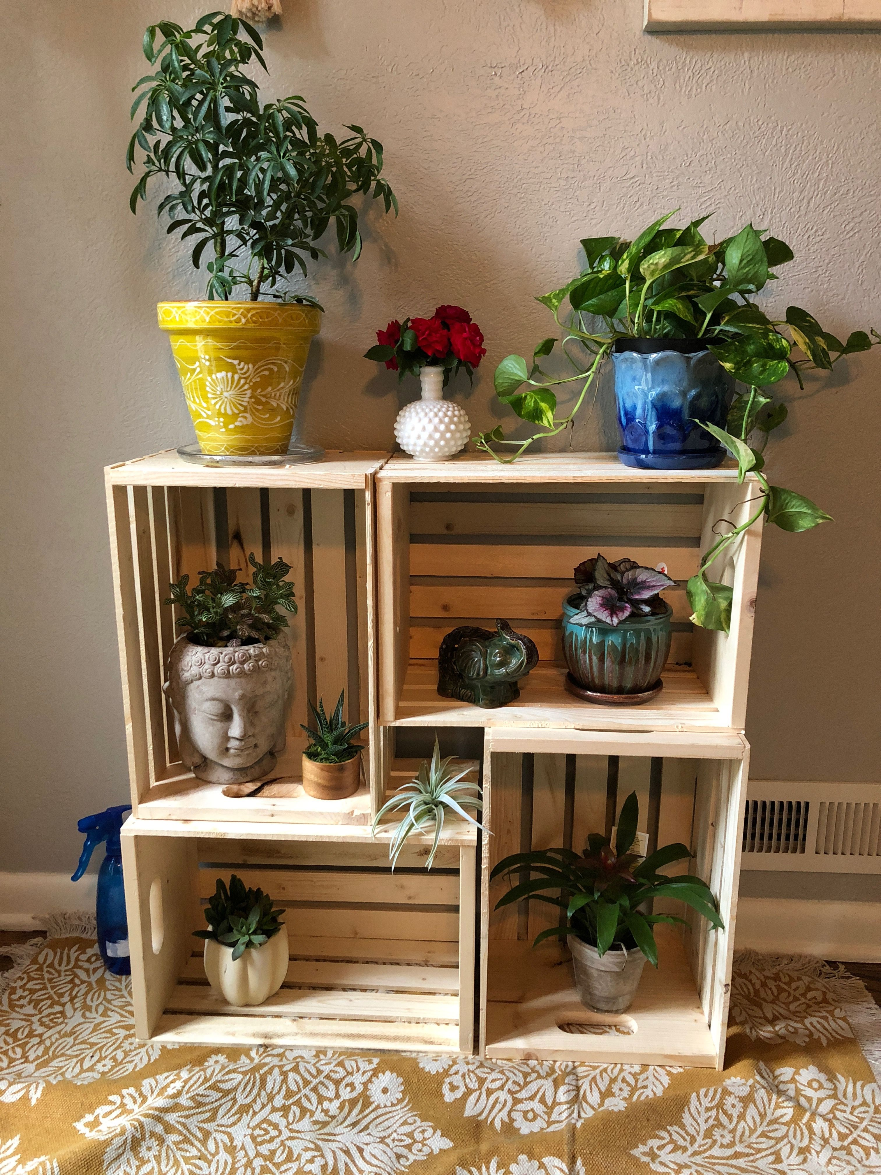 Diy Plant Stand Wooden Crate Plant Decor Indoor Diy Plant Stand Plant Stand Indoor