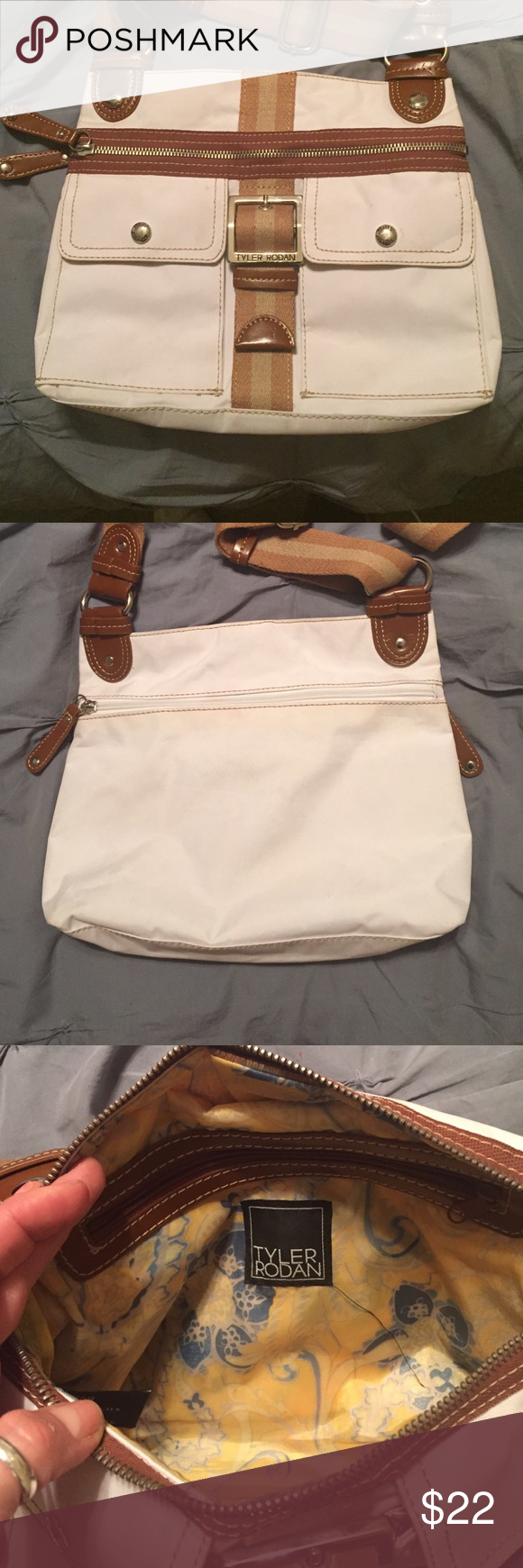 Tyler Rodan Purse Very gently used Tyler Rodan purse. White with brown and tan shoulder strap and accents.  No stains or signs of wear. Super cute! Tyler Rodan Bags