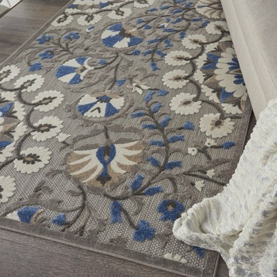 Nourison Aloha Alh20 Gray Blue White Indoor Outdoor Area Rug 3 6 X 5 6 Floral Area Rugs Area Rugs Grey Area Rug