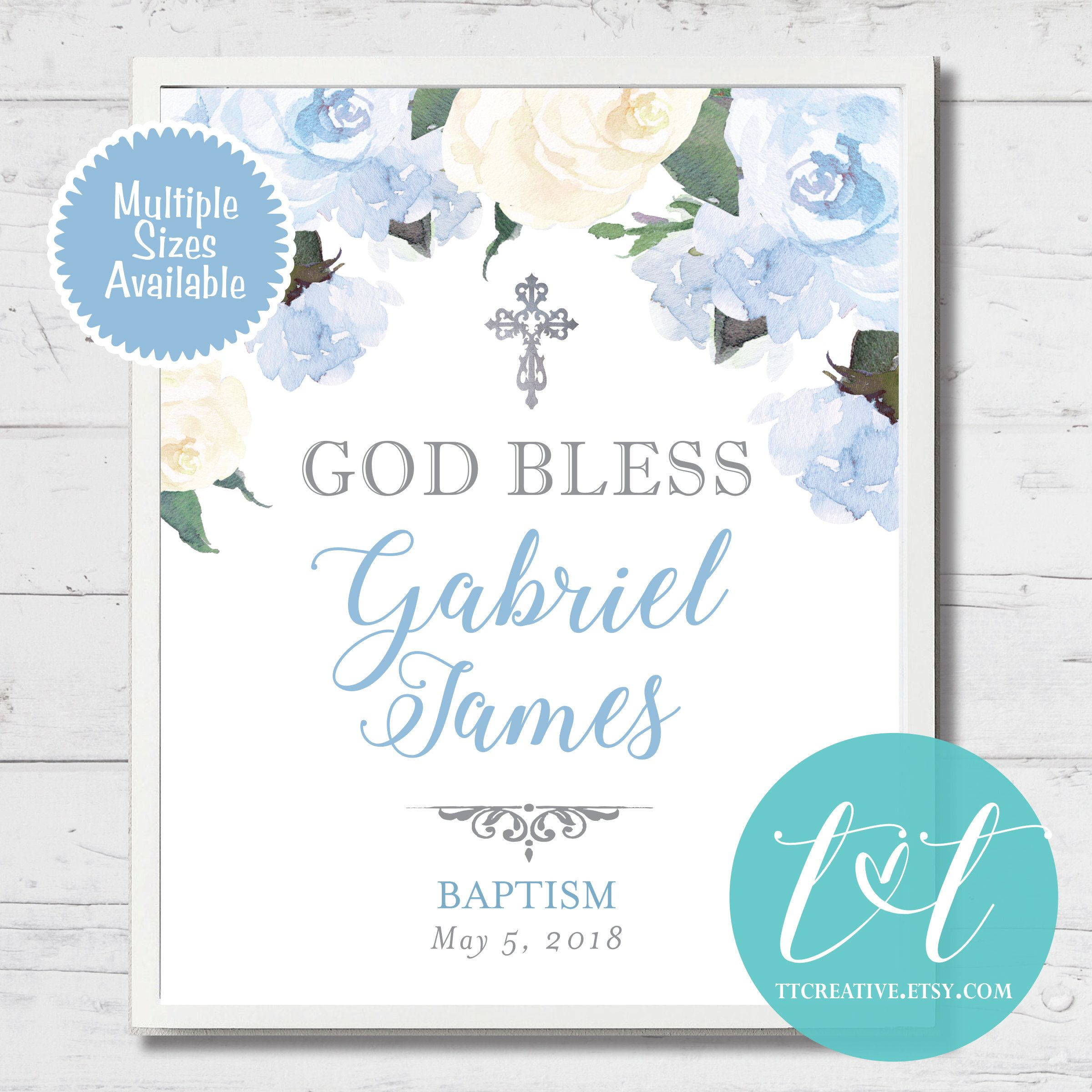 First Holy Communion Baptism Candy Buffet Sign Digital Download Blue Floral Baptism or Communion Custom Candy Bar Sign 8x10