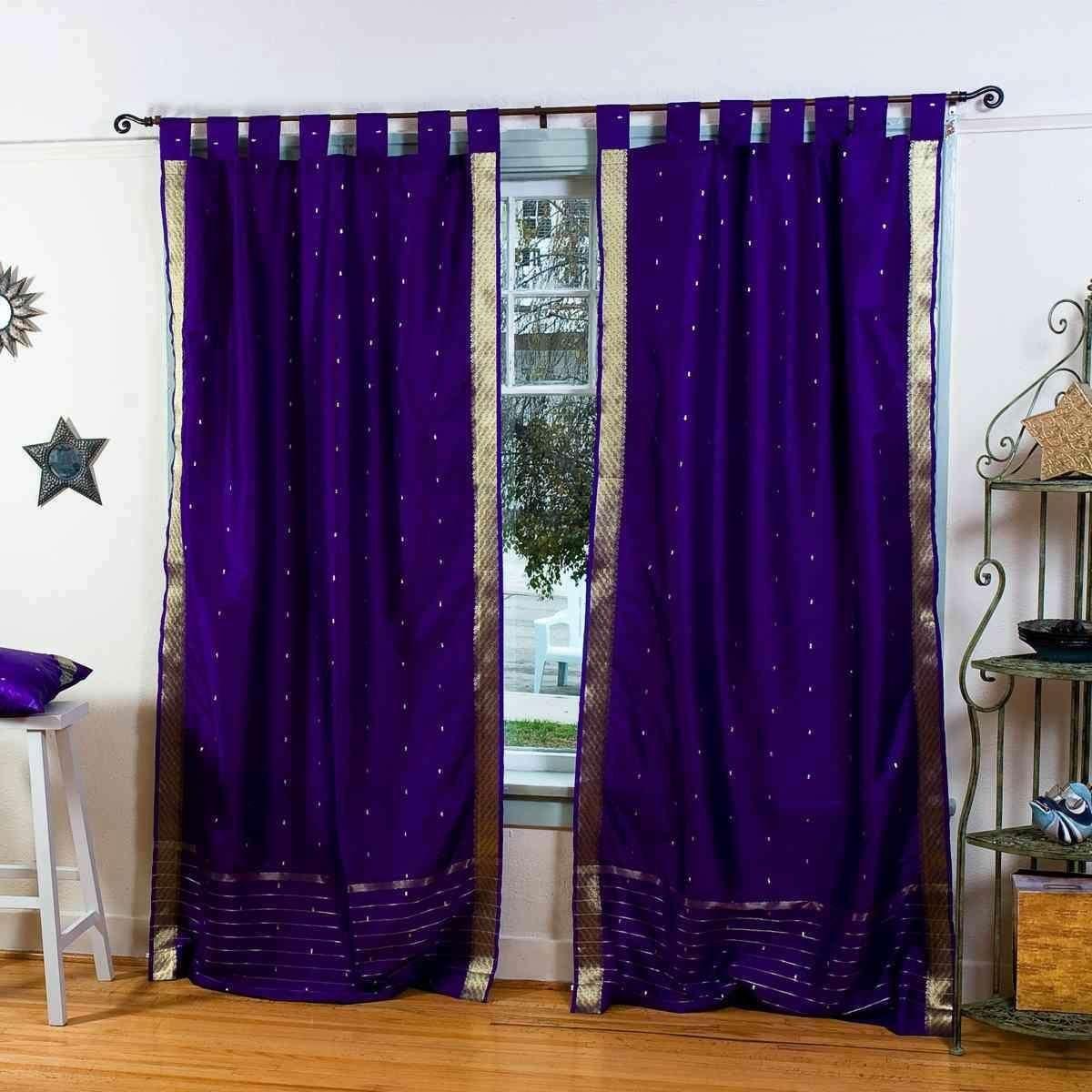 Linedpurple Tab Top Sheer Sari Curtain Drape Panel 80w X 63l
