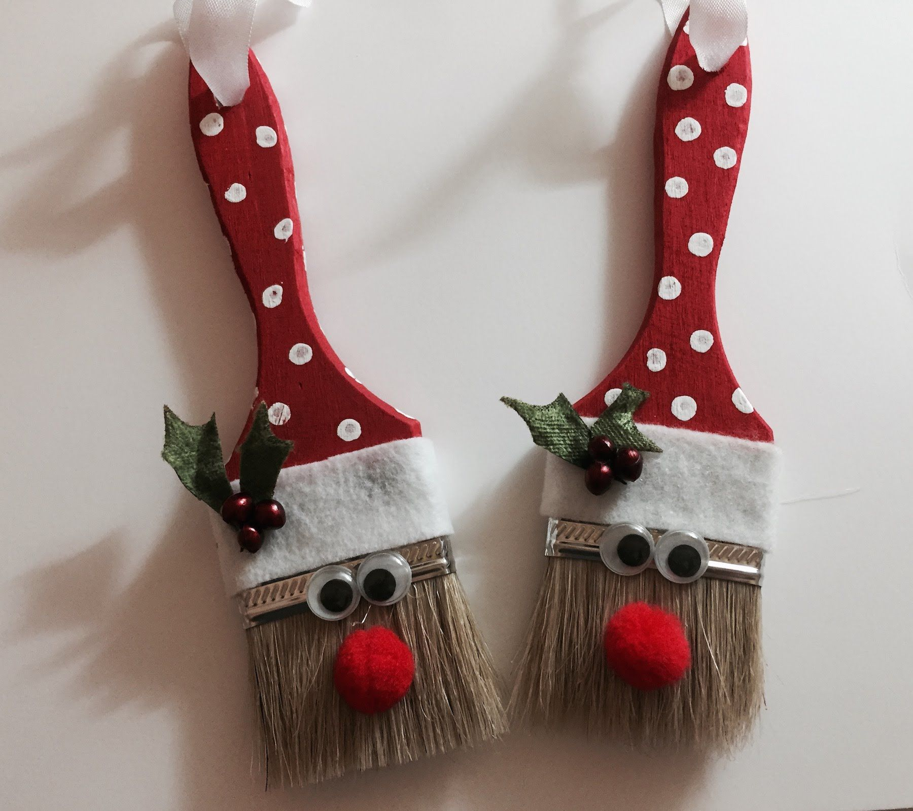 Santa Paint Brush Ornament Kids Crafts Ornaments Christmas Ornament Crafts Xmas Crafts