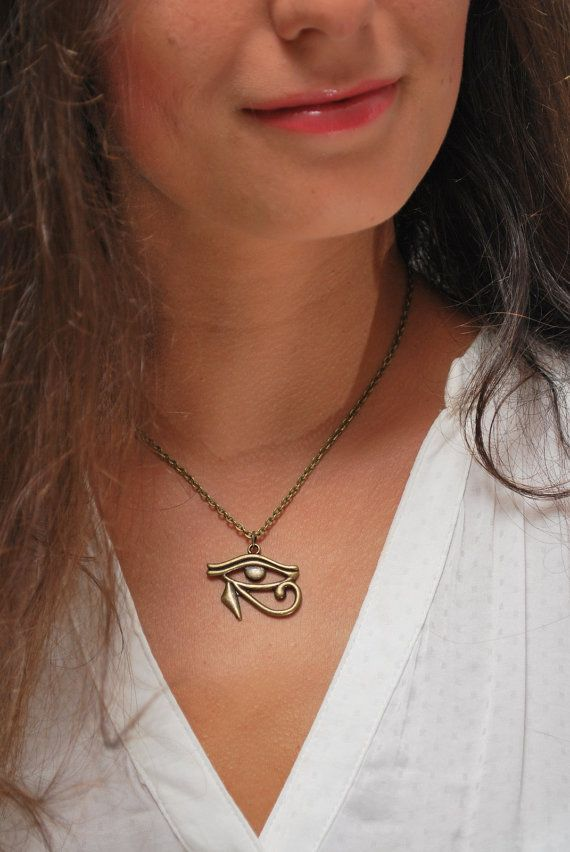 Photo of Egyptian necklace, eye of horus pendent, egyptian jewelry, bronze eye necklace, protection, egyptian revival