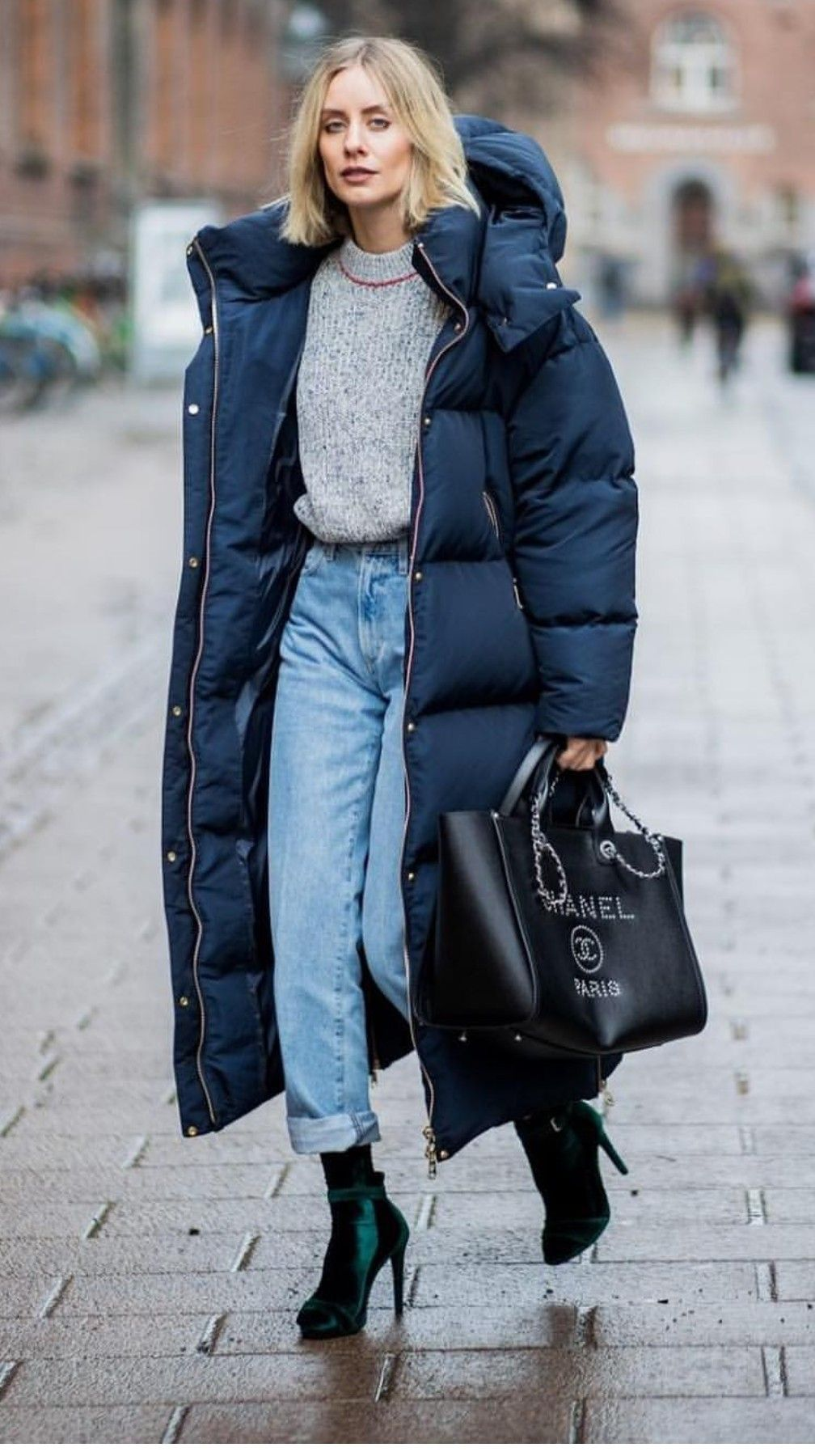 long puffer coat, chic winter outfit for women, casual ...