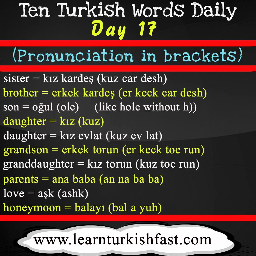 Learn Turkish Fast Family In Turkish Turkish Family Learn Turkish Language Turkish Lessons Turkish Language