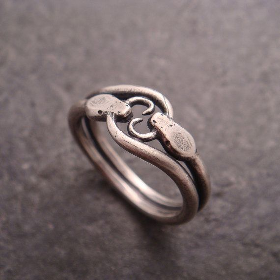 Silver Snake Ring Double Ouroboros Ring Statement Ring