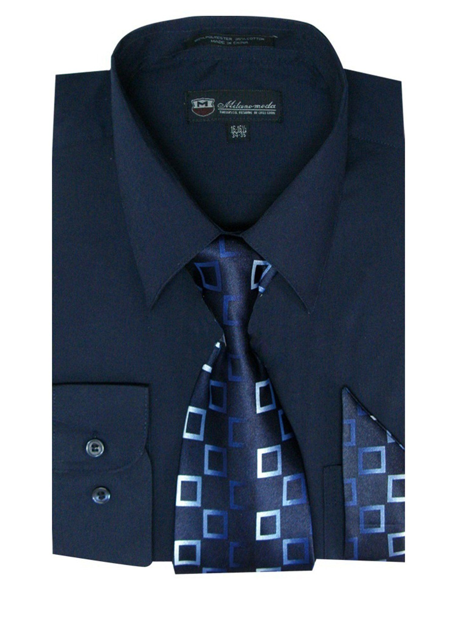 Milano Moda Men's Long Sleeve Dress Shirt With Matching Tie And Handkie SG21A-Navy-20-20 1/2-36-37