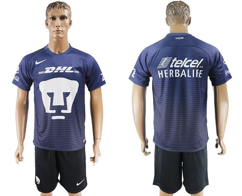 2017-2018 Pumas UNAM club blue black soccer jersey away