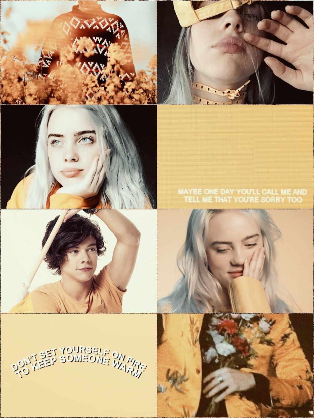 Billieeilish Harrystyles Yellowaesthetic Wallpaper Wallpaper Collage Papeis De Parede Preto Icons Twitter