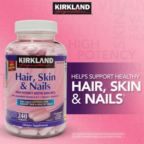 Kirkland Signature Hair Skin Nails Vitamins Keratin Biotin 240