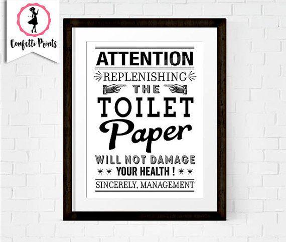 Toilet Paper Print Funny Bathroom Art Bathroom Rules