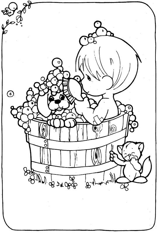 Coloring Pages Boy Taking A Bath With His Dog