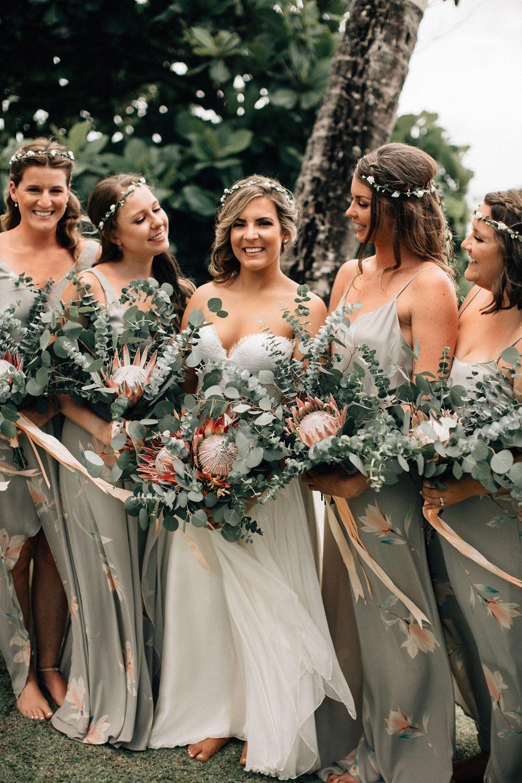 It Took 3 Years To Plan This Wedding In Hawaii Tropical Wedding Dresses Printed Bridesmaid Dresses Hawaii Wedding Dress