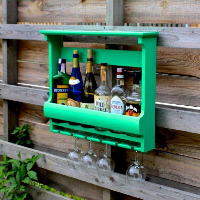 Винная полка на 6 бутылок с держателем для бокалов. Цвет ...
