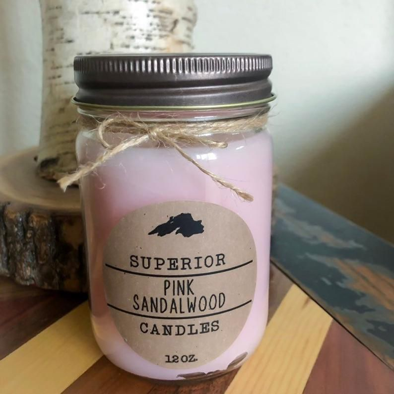 Wood Wick Mason Jar Candle Pink Sandalwood Etsy Mason Jar Candles Wood Candles Wood Wick Candles