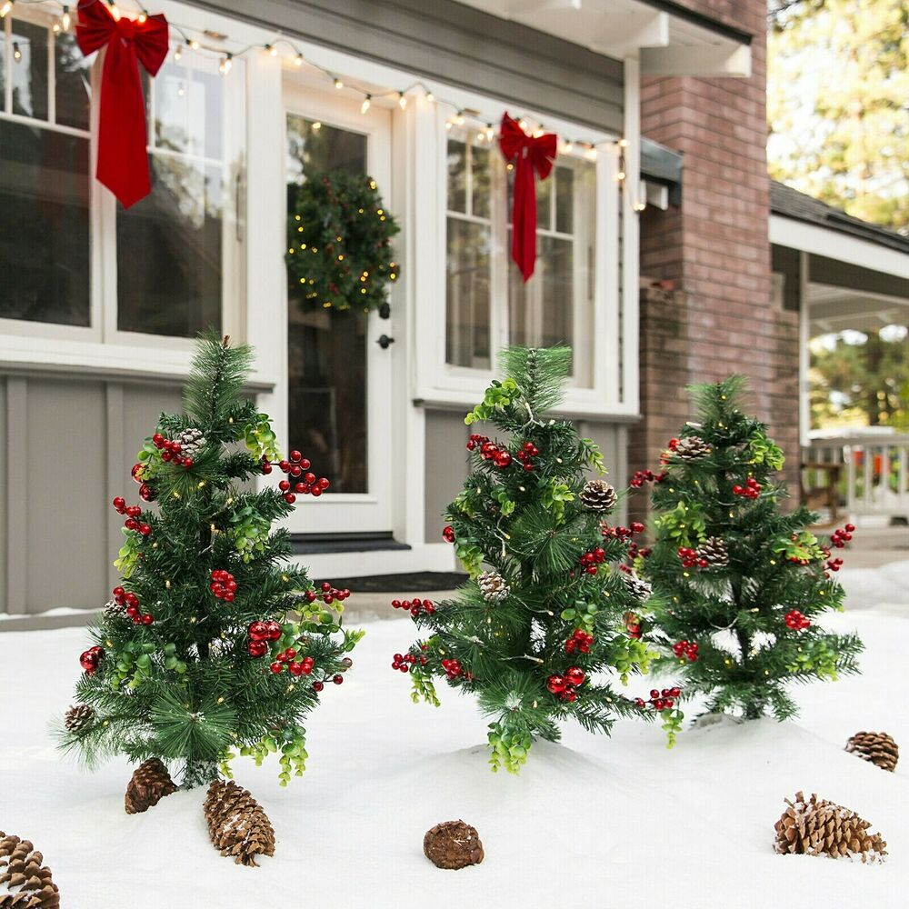 Outdoor Christmas Tree Garden Stakes Battery Operated