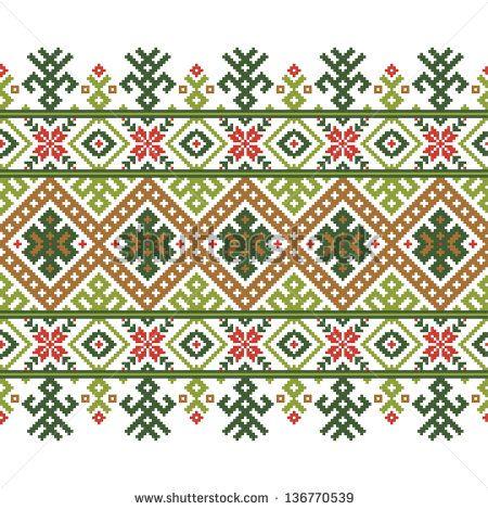 Vector illustration of ukrainian folk seamless pattern ornament ...