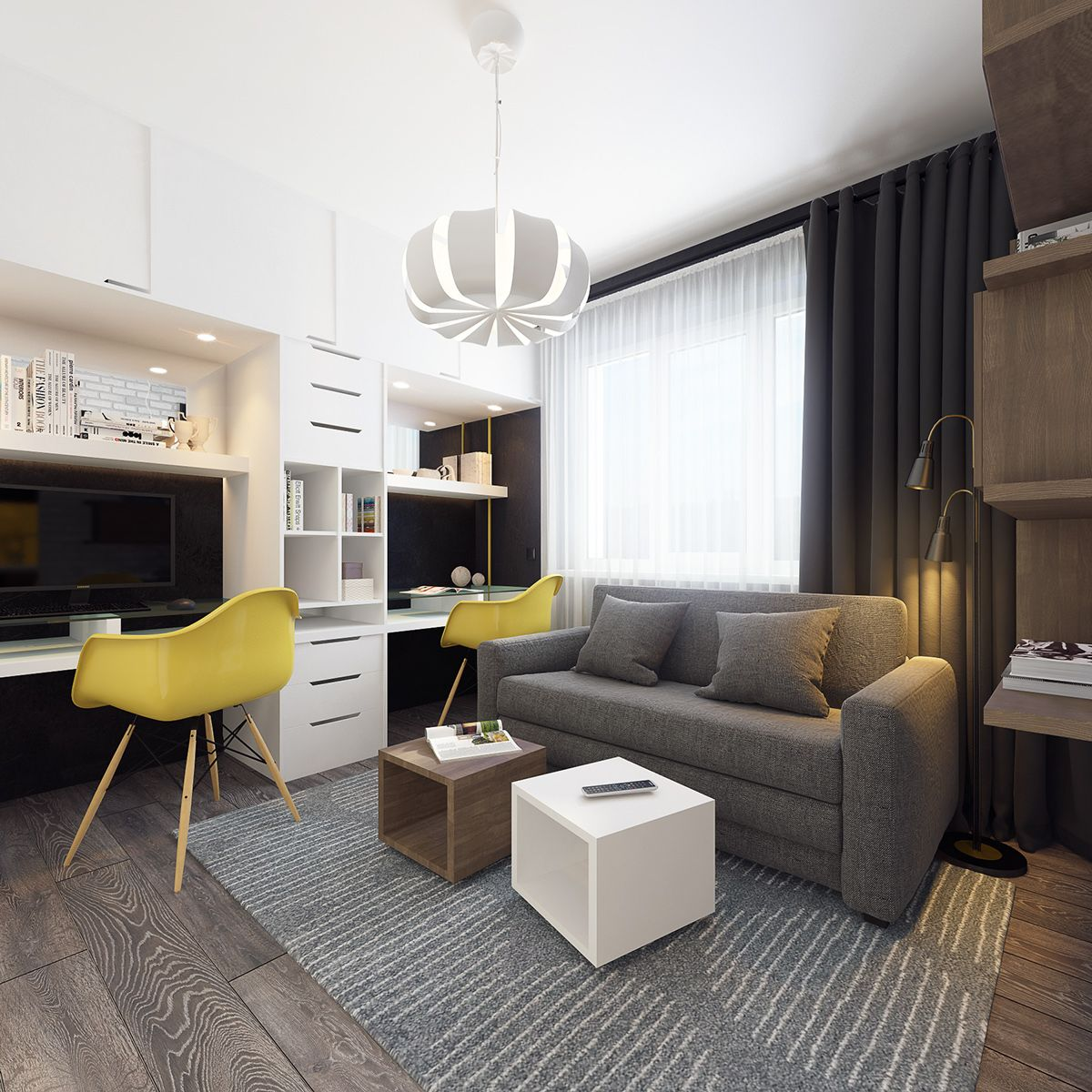 Contemporary Small Apartment Interior Design: 3d Visualization / Interior Design / Apartment 37m2 On