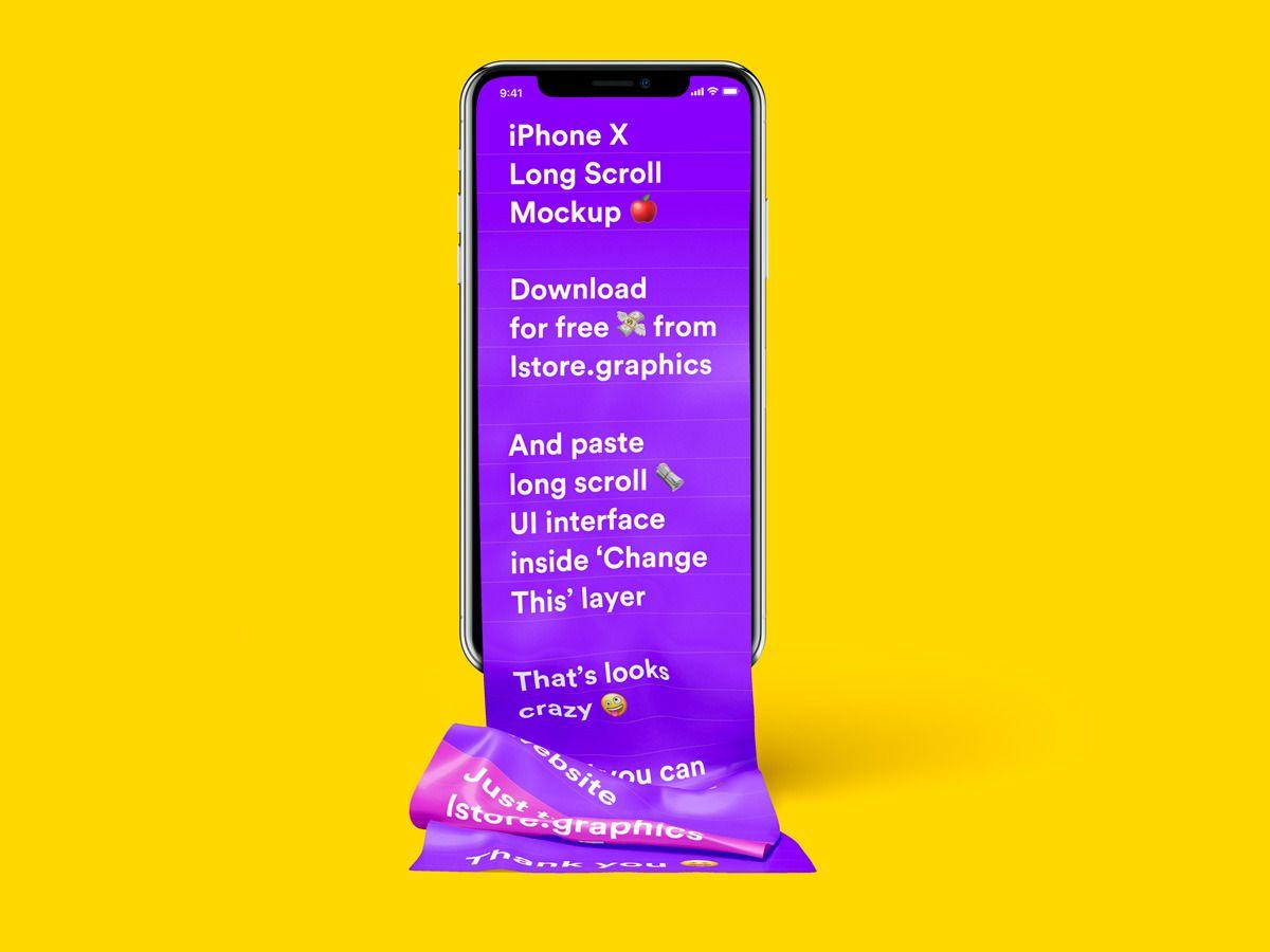 Free Long Scroll Iphone X Mockup P