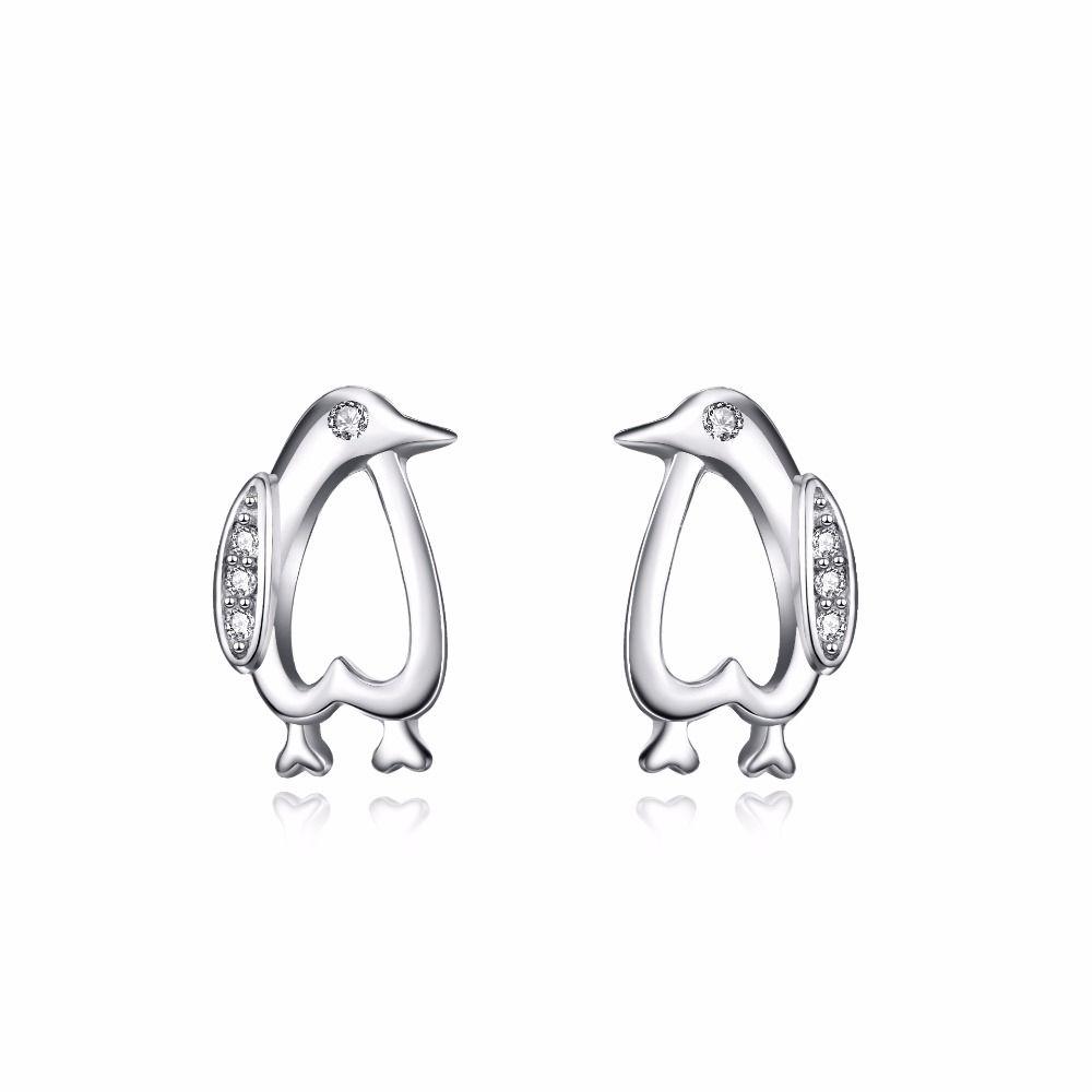 New piercing ideas  YAFEINI Brand  New Design  Sterling Silver Penguin Stud