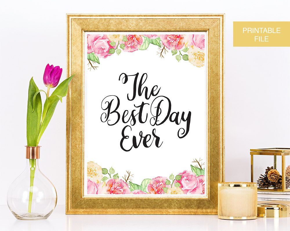 The Best Day Ever Wedding Sign Wedding Printable Wedding Decor