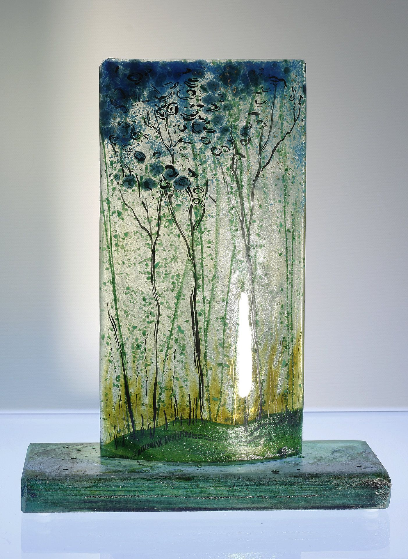 Alice Benvie Gebhart Glass Artist   Artful Home Mary Lightner mzlight1 Glass art with dimension Seasonal Pleasure by Alice Benvie Gebhart. This sculpture is kiln-formed glass fabricated on a thick etched and patinaed glass base. Iridescent glass re# Alice #artful #Artist #Benvie #Epoxy Recin Crafts #epoxy recin crafts sea glass #Gebhart