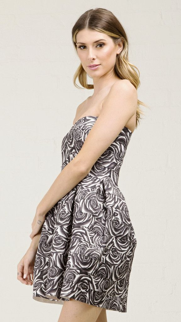 f4655e2ceca Black Roses Print Bandage Tube Dress