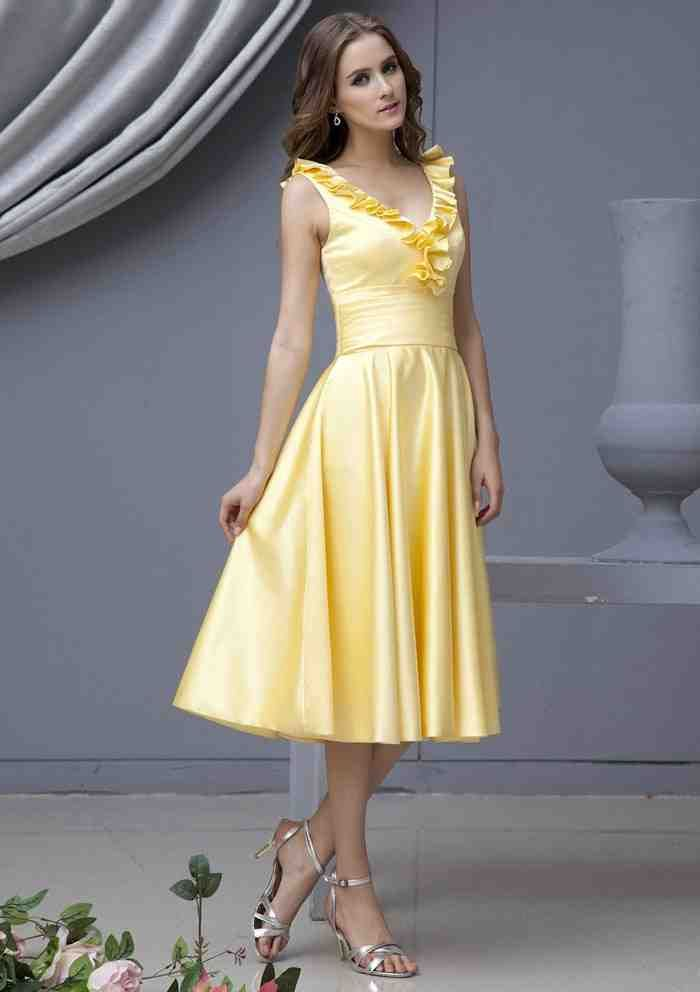 824bbb8b6cd ... Gowns  Prom Special Occasion Dresses Wedding Dresses. Yellow Tea Length Bridesmaid  Dresses