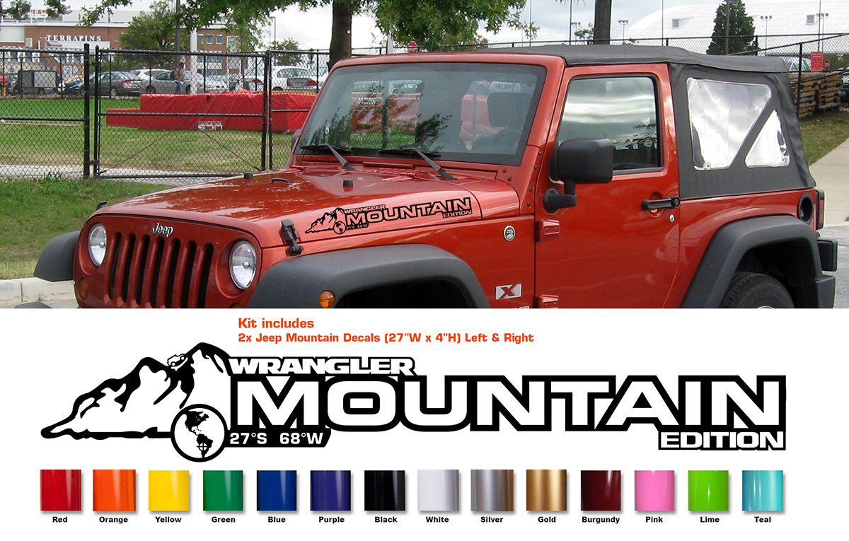 Custom Hood Decal For Wrangler Rubicon Sahara Jk Cj Tj Yj 40