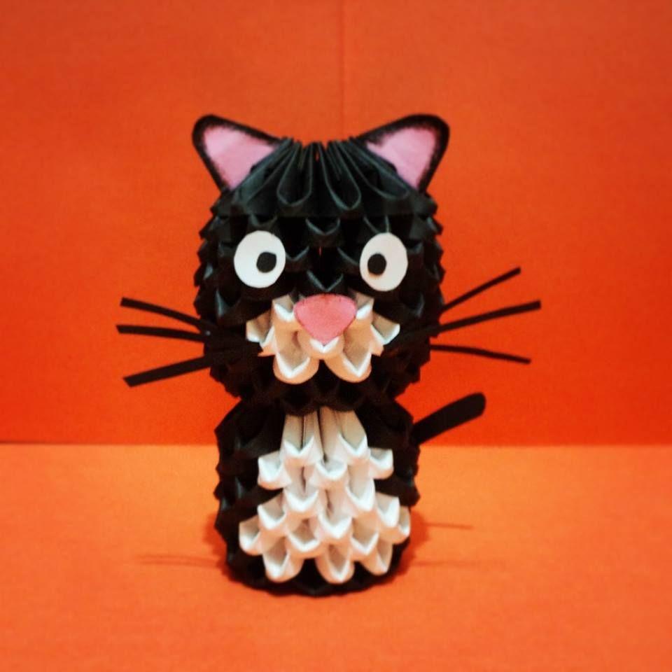 origami 3d gato