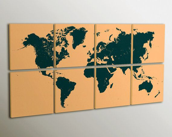 Huge world map modern wall decor on 8 panel canvas personalized huge world map modern wall decor on 8 panel canvas personalized design and colors ready to hang home decor interior sciox Images